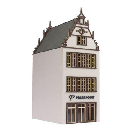 """Unique Laser-Cut Bausätze - Stadthaus """"Press Point"""" - L: 113mm x B: 72mm x H: 190mm - H0 (1:87) - (01-01-002)"""