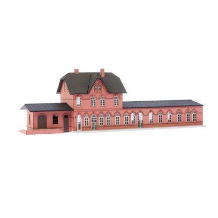 """Unique Laser-Cut Bausätze - Bahnhof """"Laarwald"""" - L: 334mm x B: 110mm x H: 105mm - TT (1:120) - (03-05-001)"""